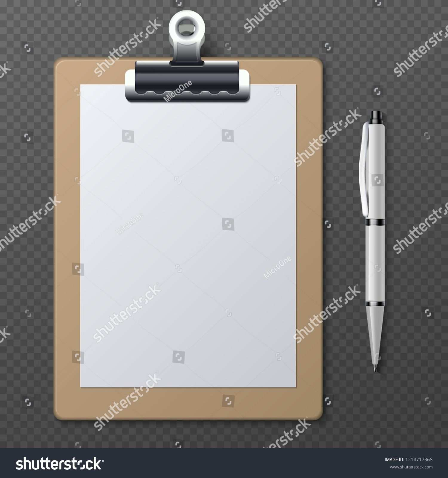 Realistic Clipboards With Blank White Paper Sheet And Pen