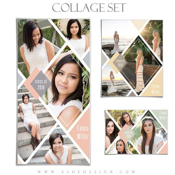 Senior Collage Template Set Diamonds 3 Photoshop Collage