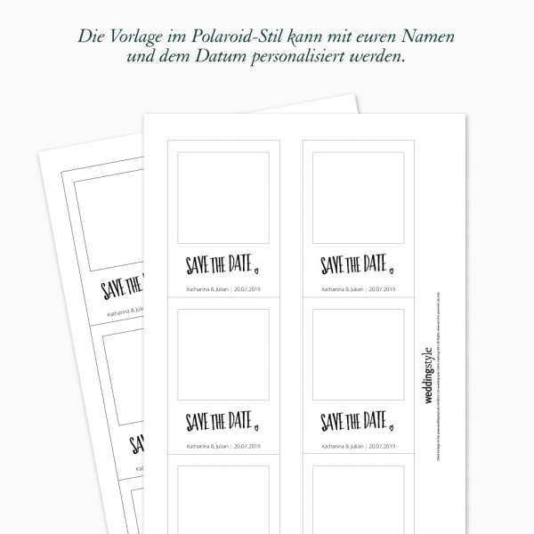 Diy Save The Date Karten Vorlagen Als Polaroid With Images Diy