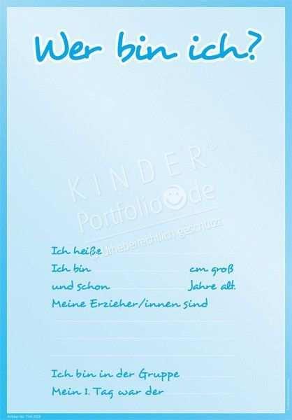 Kindergarten Portfolio Vorlage Tva003 Wer Bin Bin