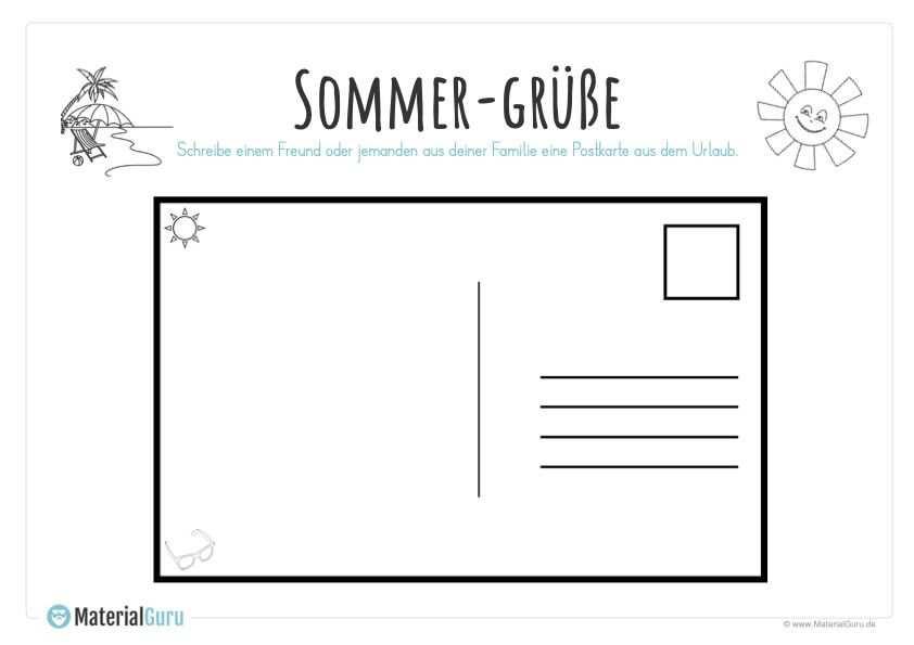 Sommerferien Unterrichtsmaterial Postkarten Postkarte Schreiben Schreibubungen