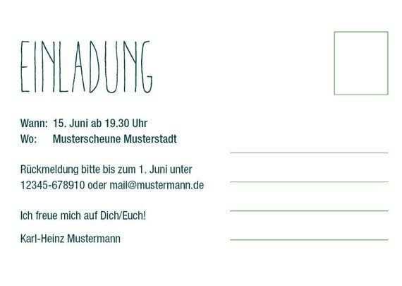 Einladung Zum 70 Geburtstag Postkarte Im Din A6 Format Vorder