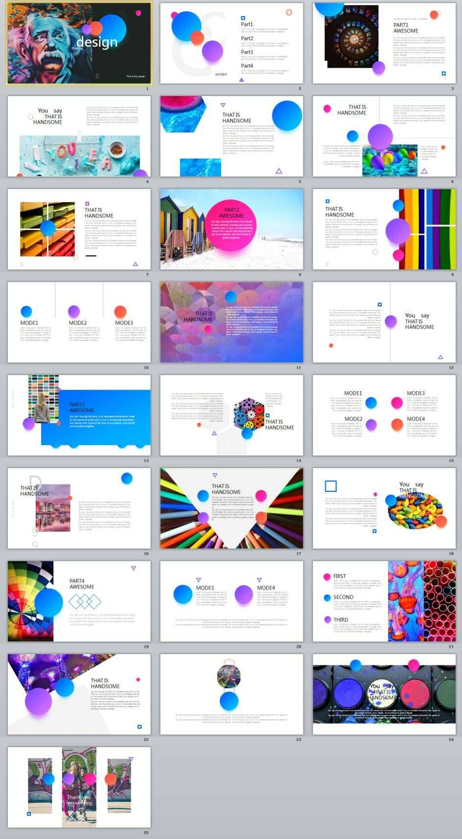 25 Spherical Color Creative Design Powerpoint Templates