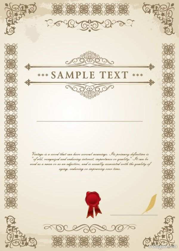 Certificate Template Design 01 Vector Material Certificate Design Template Certificate Templates Template Design