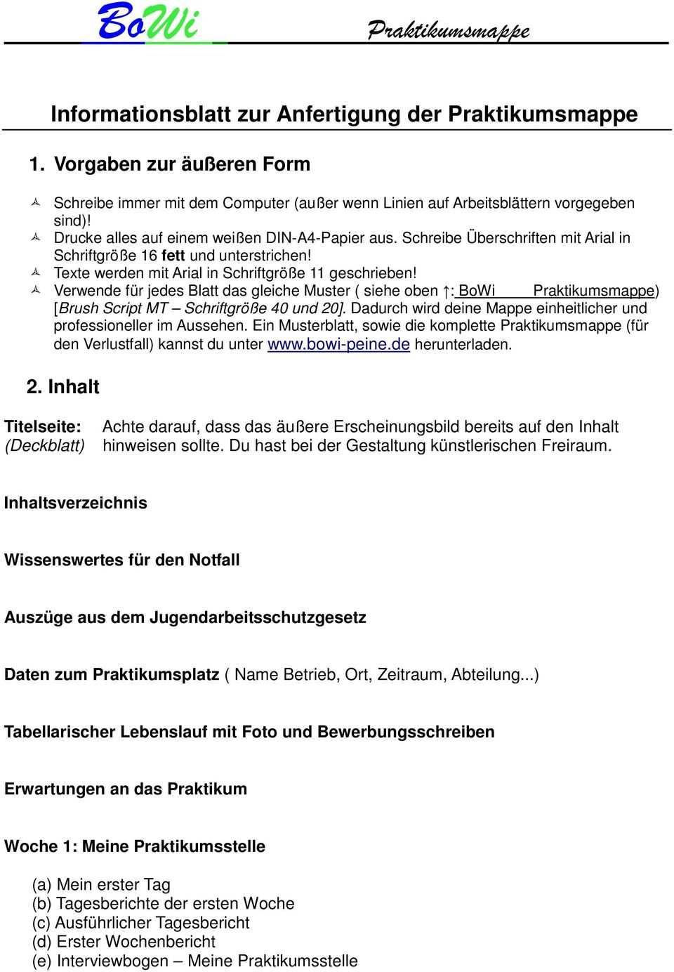 Informationsblatt Zur Anfertigung Der Praktikumsmappe Pdf Free