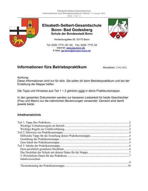Praktikumsmappe Fa R Den 9 Jahrgang A Im Pdf Format Elisabeth