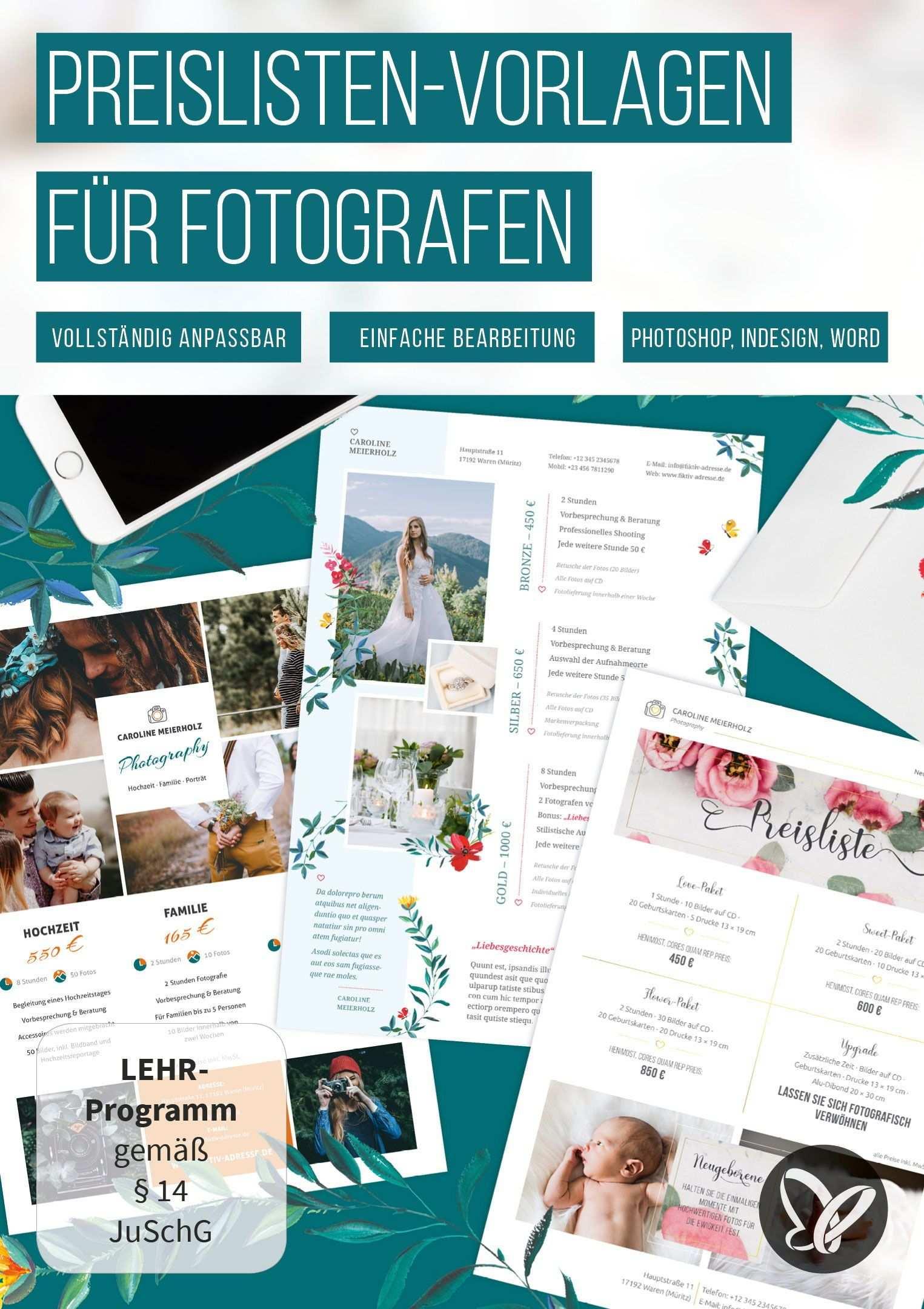 Preislisten Vorlagen Fur Fotografen Photoshop Indesign Word