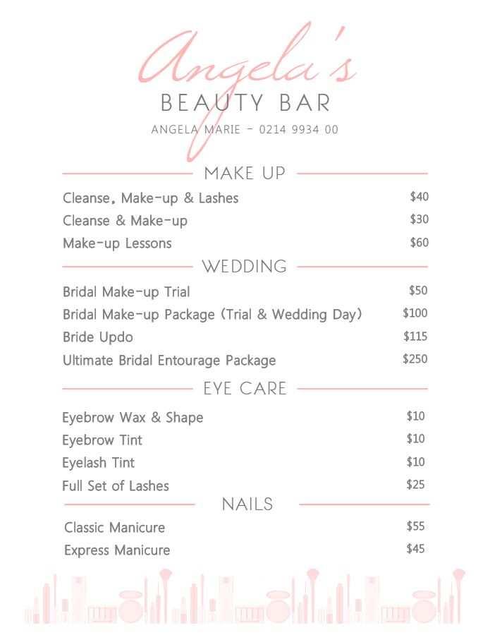 Elegant White Beauty Parlor Service Price List Template Price