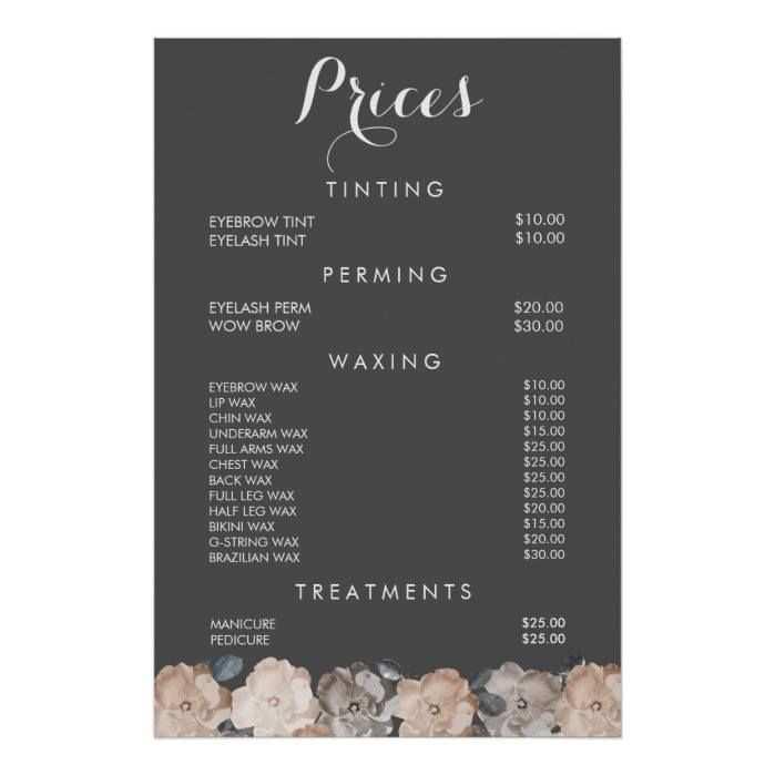 Image Result For Beauty Salon Pricelist Leaflet Prajs List
