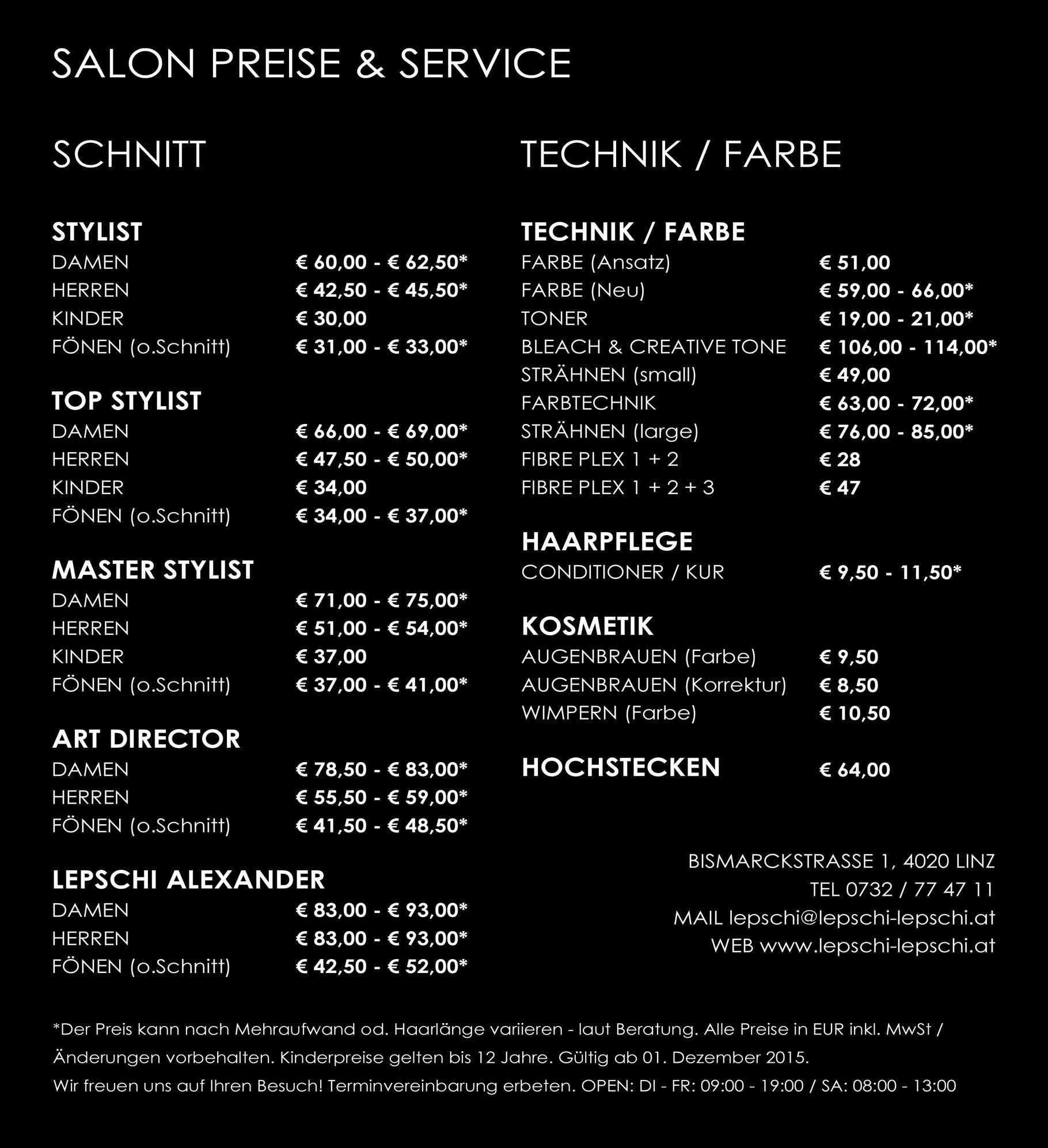 Preise Lepschi Amp Lepschi Hairdressing Ihr Friseur In Linz