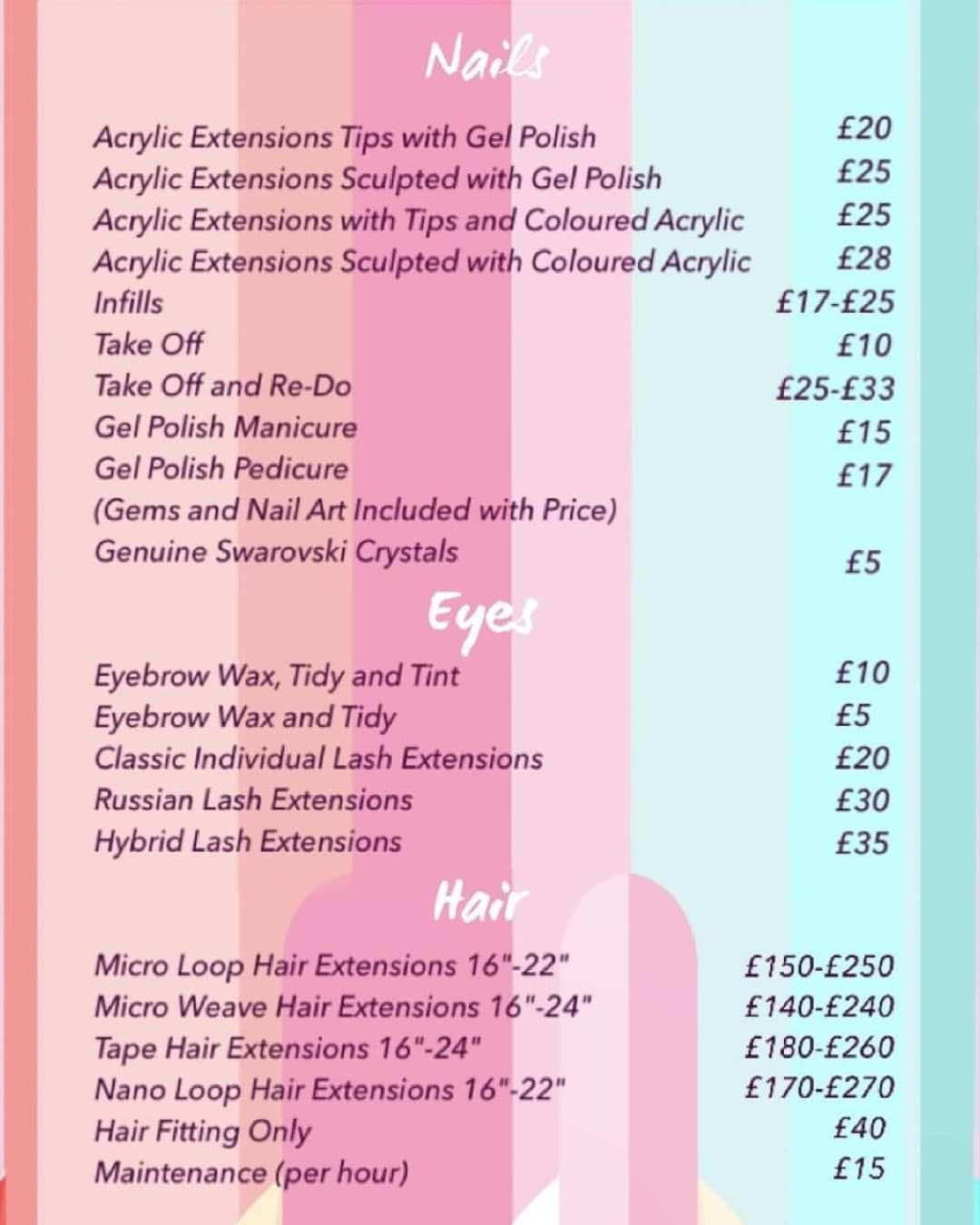 Price List Pricelist Nails Eyes Hair Acrylicnails Gelnails