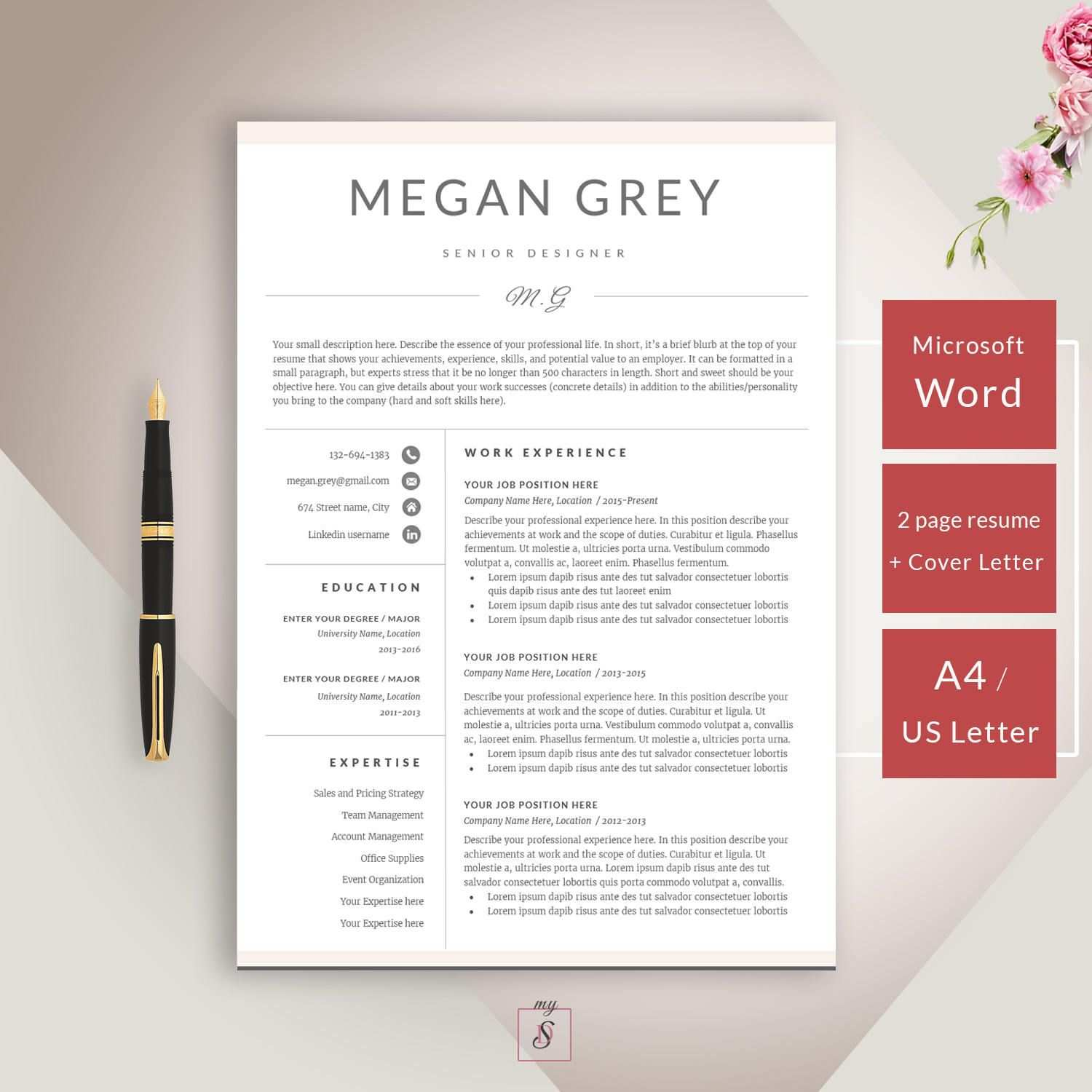 Cv Template Cover Letter For Ms Word Professional Clean Resume