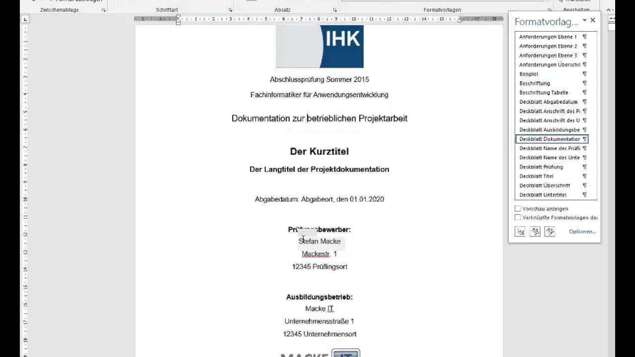 Word Vorlage Fur Die Projektdokumentation Der It Berufe Youtube