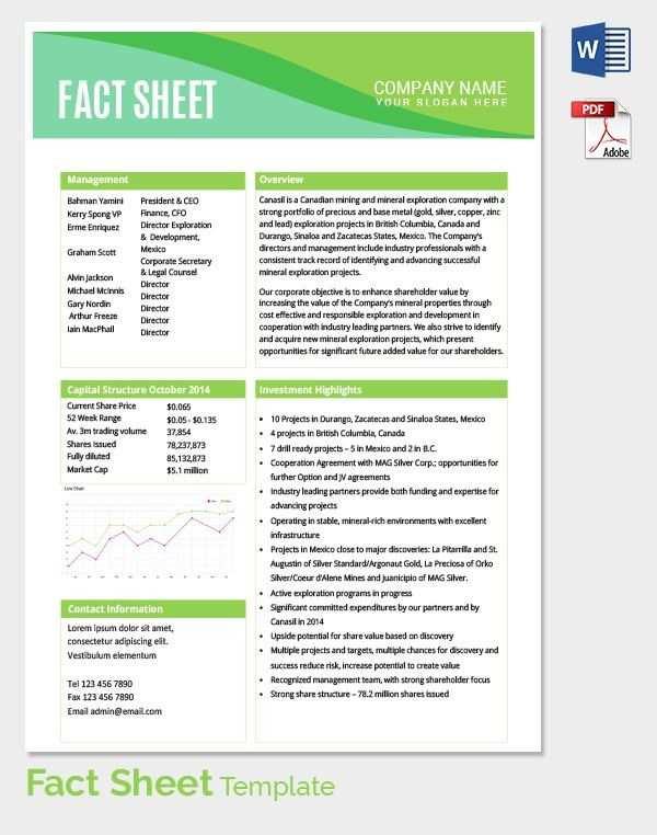 Fact Sheet Template Fact Sheet Template 15 Free Word Pdf
