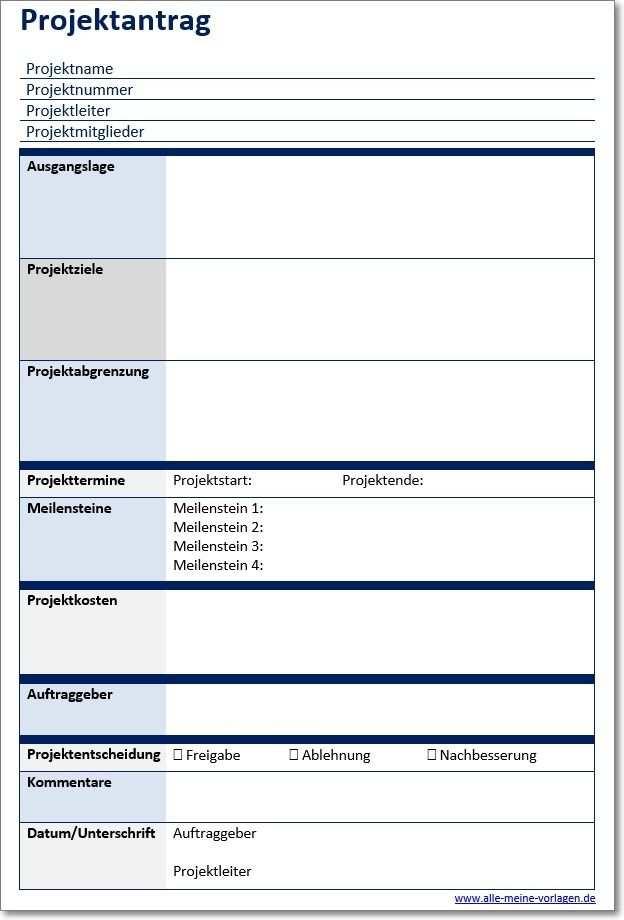Vorlage Projektantrag Projekt Planung Projekte Projektplan Vorlage