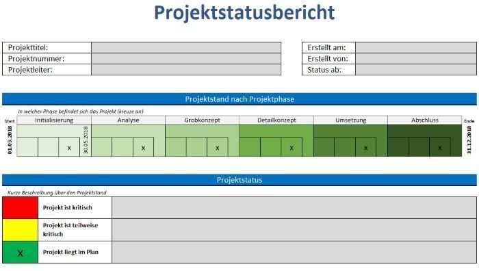 Vorlage Projektstatusbericht Projekte Projektmanagement