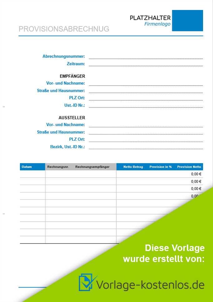 Provisionsabrechnung Muster Kostenlose Vorlage Zum Download