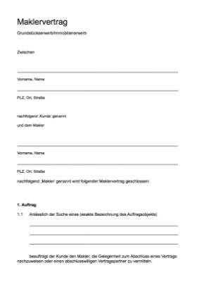 Maklervertrag Fur Immobilien Word Word Vorlage Zum Herunterladen