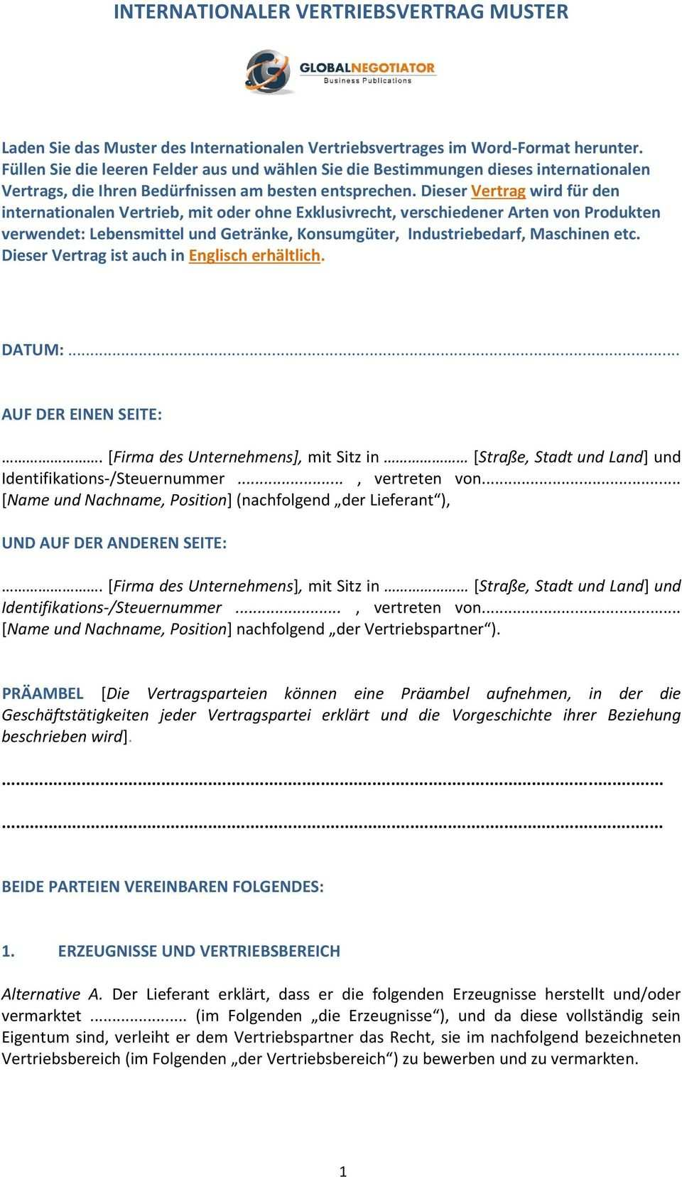 Internationaler Vertriebsvertrag Muster Pdf Free Download