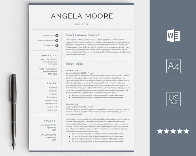 Modern Professional Resume Template For Ms Word Minimal Resume Design Cv Template Example Design Instant Download Easter Marry With Images Creative Resume Templates Resume Design Resume Templates