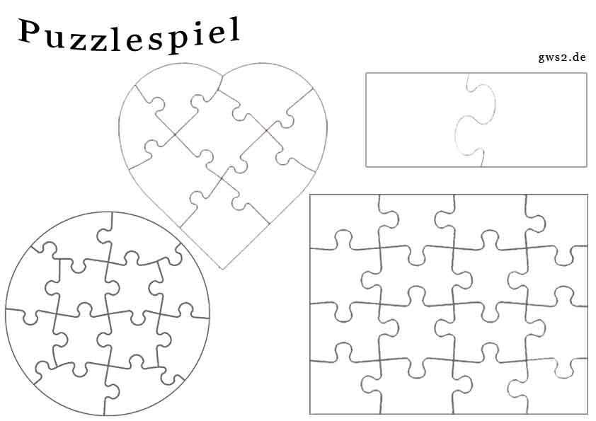 Blanko Puzzle In Verschiedenen Formen Spiele Selber Machen
