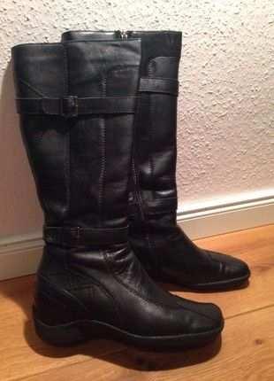 Stiefel Schwarz Echtleder Gr 38 Stiefel Schuhe Damen Und