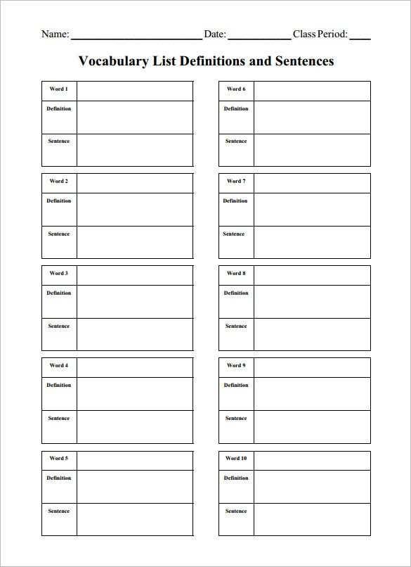 8 Blank Vocabulary Worksheet Templates Word Pdf Vocabulary