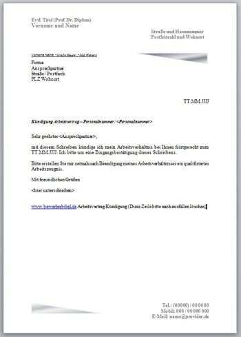 Kundigungsschreiben Arbeitsvertrag Vorlage Muster Beispiel