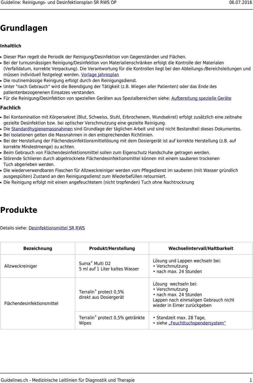 Reinigungs Und Desinfektionsplan Sr Rws Op Pdf Free Download