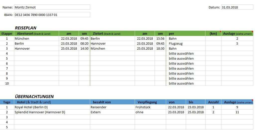 Reisekosten Und Auslagenabrechnung Als Excel Template Fischerberger