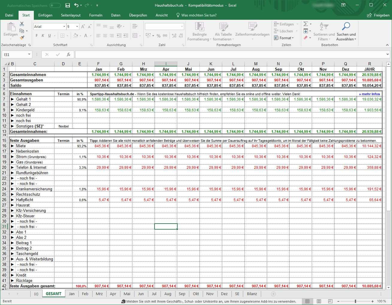 Spartipp Haushaltsbuch 2 020 Download Computer Bild
