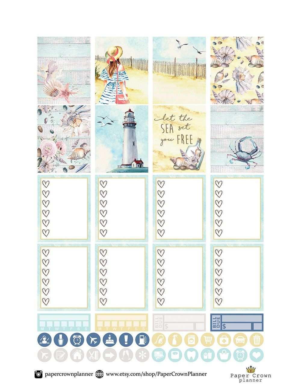 Am Meer Wochentliche Planner Sticker Kit Druckbare Planner Etsy