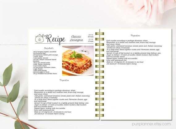 Editierbare Rezept Seiten Koch Buch Sammelmappe Vorlage Rezept