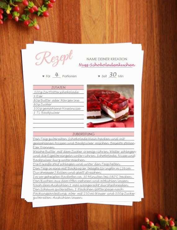 Rezeptvorlage Zum Drucken Printable Recipe Template Kochbuch