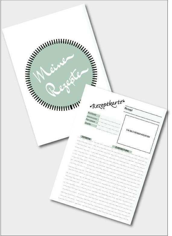 Rezeptvorlage Mit Deckblatt Zum Drucken Printable Recipe Template