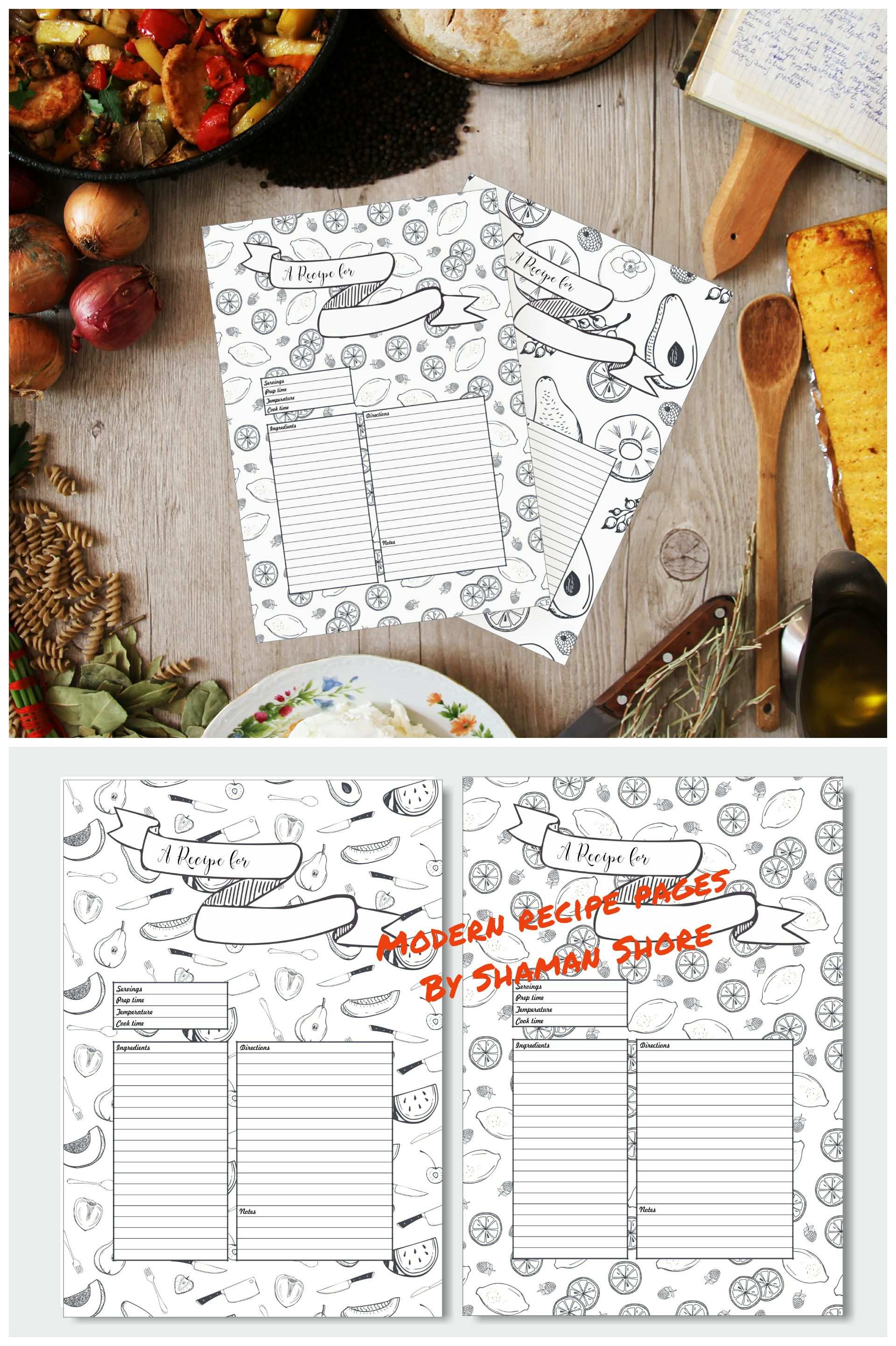 Recipe Template Printable 10 Recipe Pages Blank Recipe Book Pdf