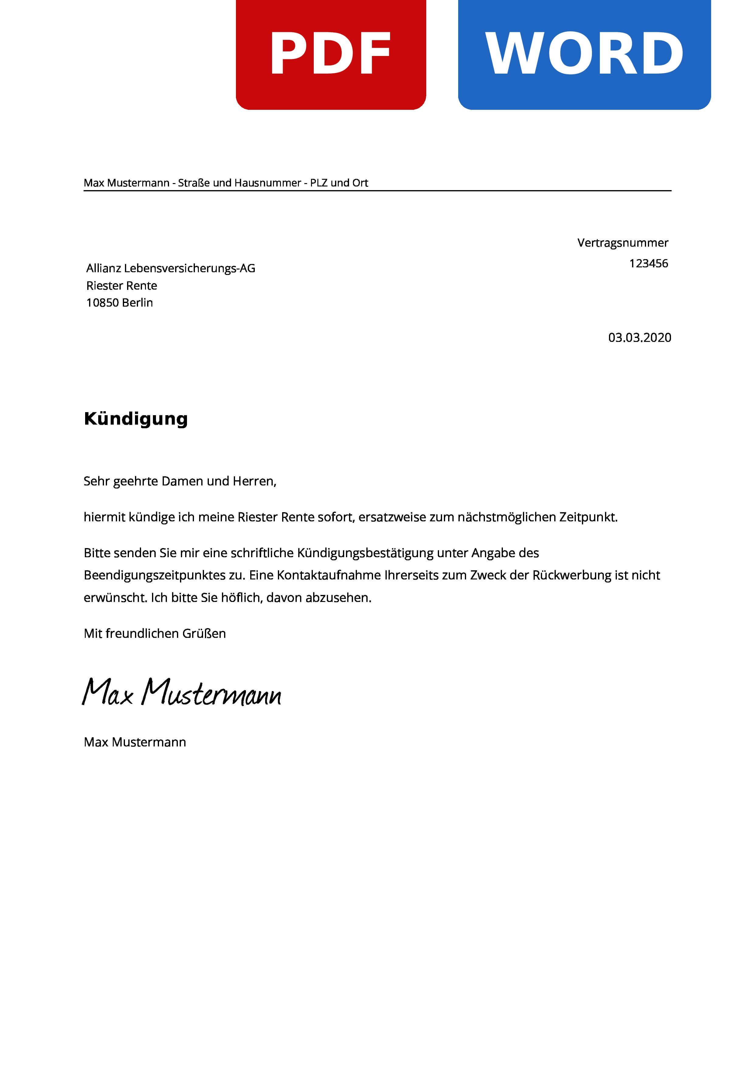 Allianz Riester Rente Kundigen Muster Vorlage