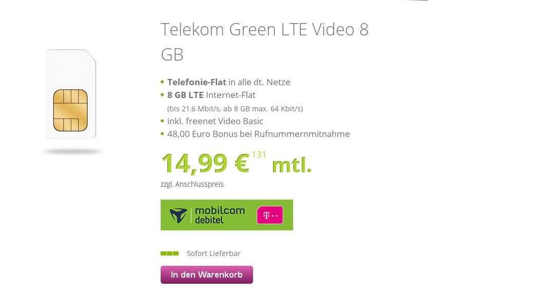 Sparhammer Gratis Freenet Video 48 Euro Bonus 8 Gb Telekom Lte