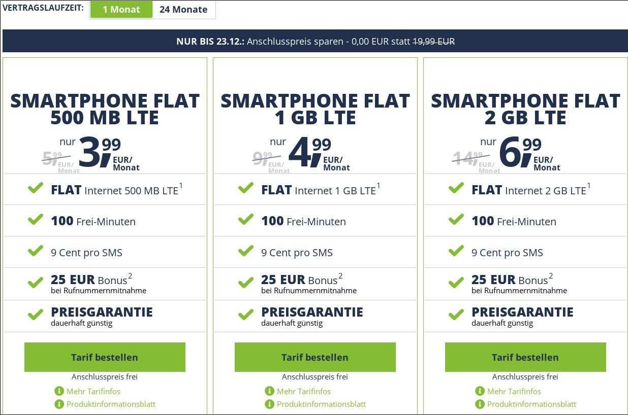 50 Prozent Sparen Kein Anschlusspreis Freenetmobiles 1 Gb