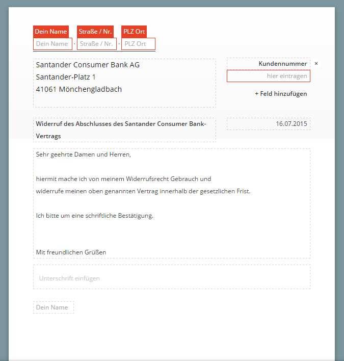 Santander Widerruf Vorlage Download Chip