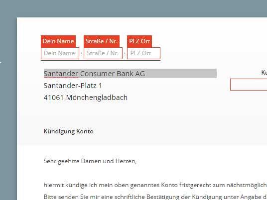 Santander Kundigung Vorlage Download Kostenlos Chip