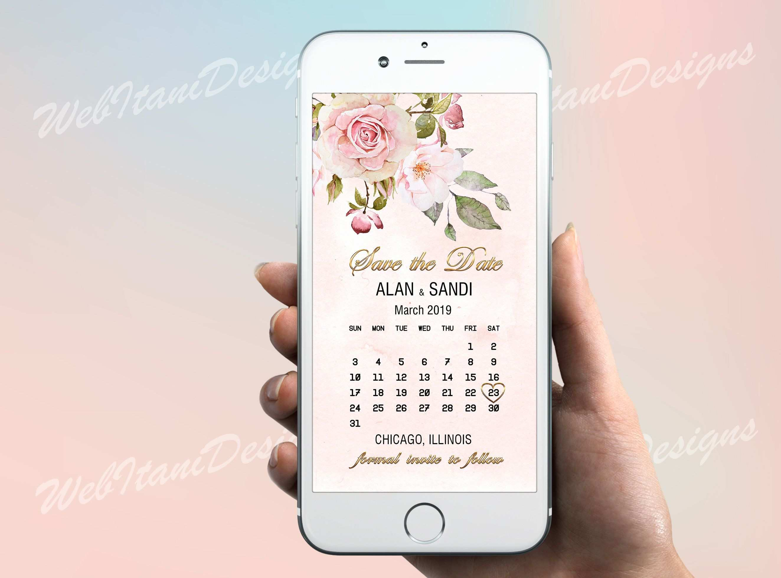 Floral Calendar Electronic Save The Date Invitation Gold Pretty