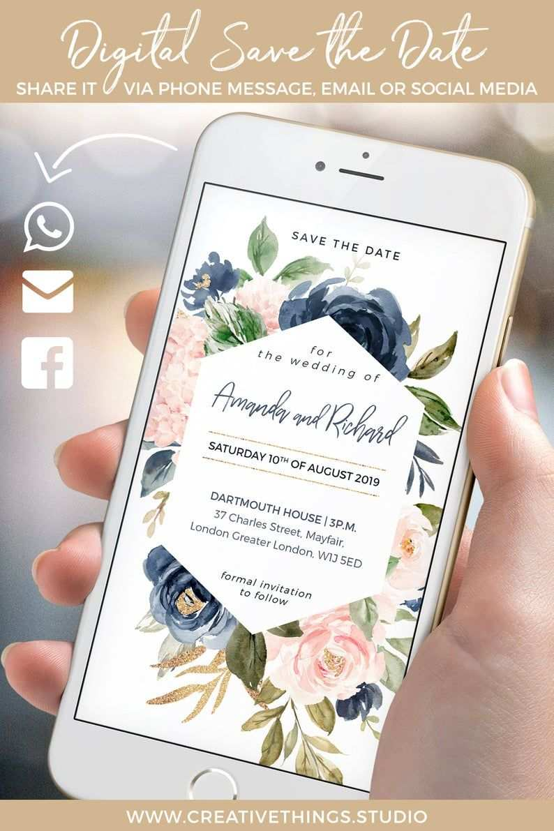 Whatsapp Wedding Invitation Blush Navy Gold Electronic