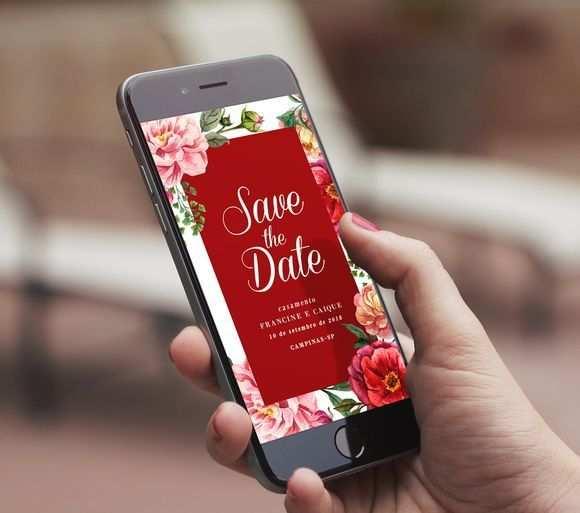 Save The Date Floral Digital Whatsapp Karte Hochzeit Save The