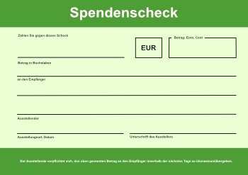 Xxl Spendenscheck Grun Pdf Vorlage Zum Ausdrucken
