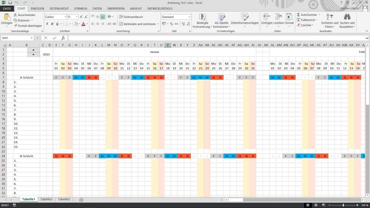 Excel Schichtplan Erstellen Teil 3 Bedingte Formatierung We