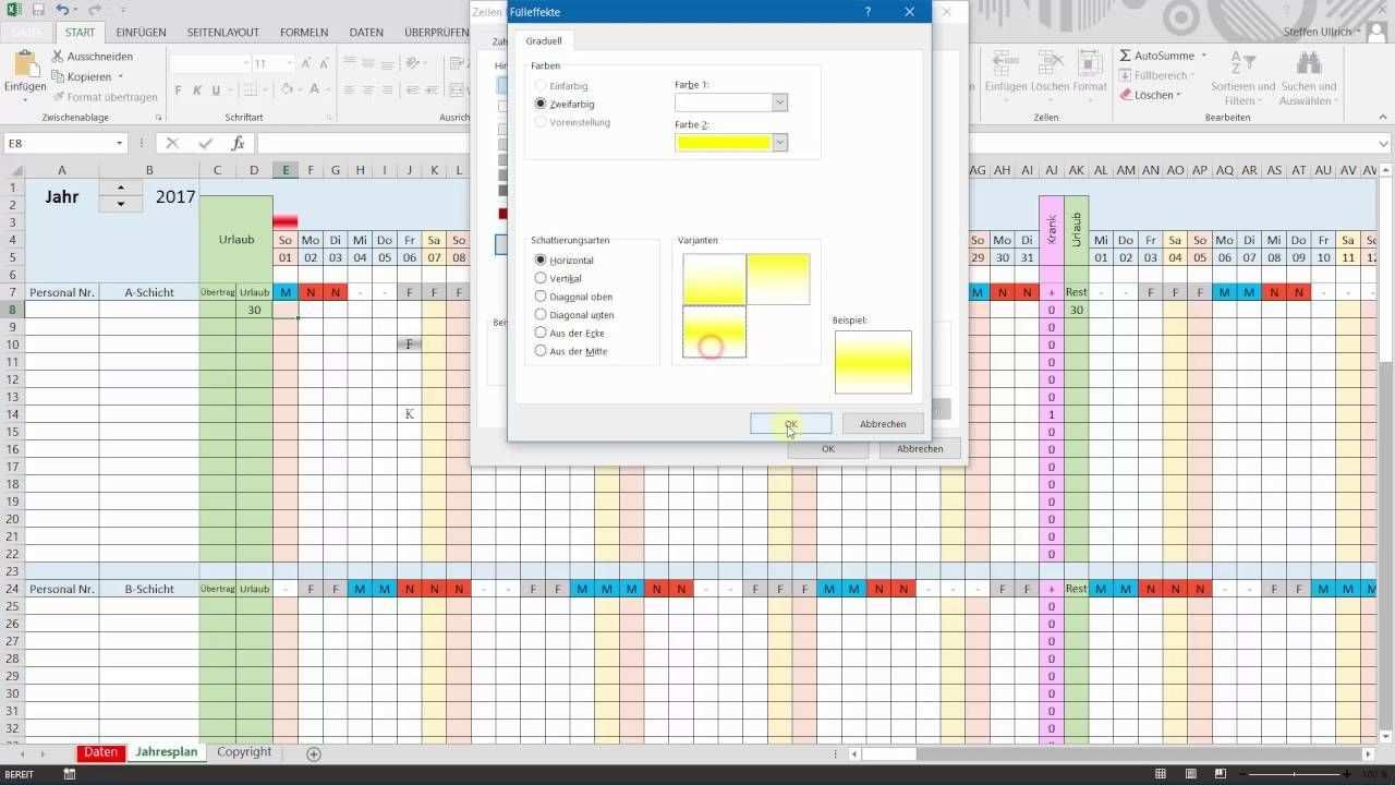 Excel Schichtplan Erstellen Teil 8 Bedingte Formatierung
