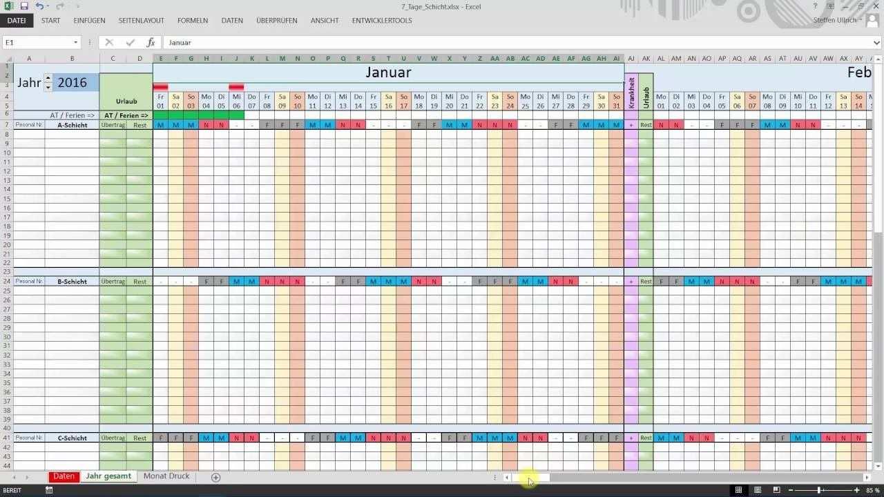 Excel Schichtplan Erstellen Teil 1 Datum Schichtplan Erstellen