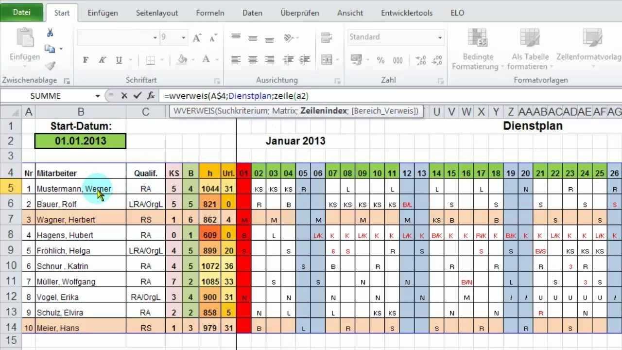 Excel Monatsubersicht Aus Jahres Dienstplan Ausgeben Per Wverweis