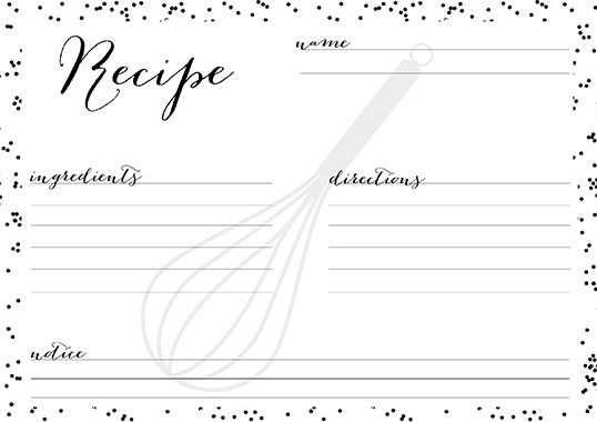 10 Kostenlose Rezeptkarten In Black White Rezeptkarten